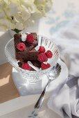 Brownies with raspberries