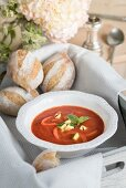 Rosemary and potato bread rolls with tomato soup