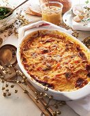 Janssons Frestelse (potato gratin from Sweden) with root vegetables for Christmas