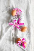 Brown eggs and white, speckled eggs, feathers and autumn crocus flowers