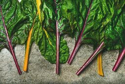 Flat-lay of fresh leaves of swiss chard on a concrete stone background