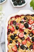 A goat's cheese and berry bread pudding