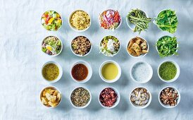 Different salad dressings and toppings