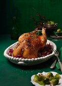 Marinated juniper and rosemary goose with a nut and bread stuffing