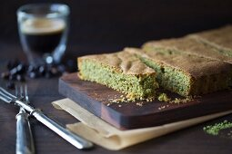 Matcha cake made from almonds and green tea