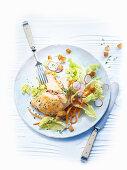 Lemon chicken with salad