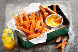 Sweet potato fries with a mango dip