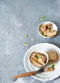 Porcini mushroom and ricotta spread in small bowls