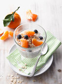 Overnight oat with mandarins and blueberries
