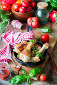 Chicken legs fried with smoked paprika
