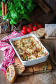 Chicken breast pieces baked with mushroom and cream