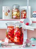 Preserved radish, onions and garlic