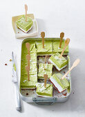 Avocado ice cream with a biscuit base