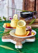 Lemon yoghurt flan with nectarines