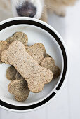 Homemade biscuits for dogs in the shape of a bone