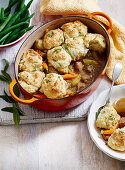 Pork and Apple Cider Casserole with Sage Dumpling