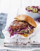 A steak sandwich with coleslaw