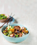 Chinese style eggplant ragout on rice