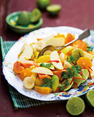 Tropical fruit salad with chili and lime
