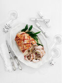 Chestnut and cranberry stuffed turkey joint