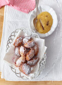 Gebackene Mäuse (Austrian doughnuts) with apple sauce