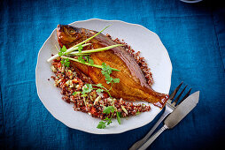 Smoked sea bream with quinoa salad