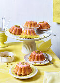 Buttermilk and almond cakes with icing