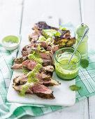 Grilled lamb shoulder with salsa verde