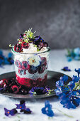 Chia and cherry dessert with mascarpone
