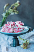 Marbled strawberry and coconut fudge