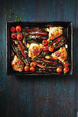 One-pan chicken and eggplant bake