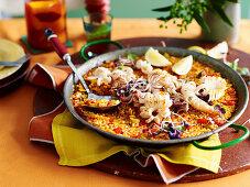 Saffron rice with seared squid