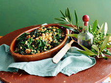 Spiced greens with Chickpeas and pine nuts