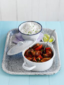 Lamb Rogan Josh curry with rice (India)