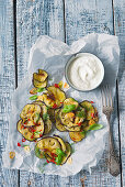 Aubergine salad with herbs and Greek yoghurt