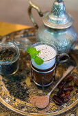 Moroccan-style chocolate tea with dates, Kahlua and coconut