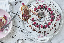Black Forest Gateau Bundt cake with white chocolate glaze