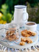 Nut blondies in a glass jar