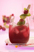 Grape Juice Spritz with lime zest