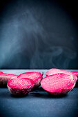 Steaming, cooked beetroot
