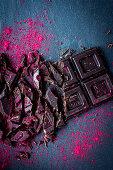 Chopped chocolate and raspberry powder