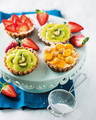 Various fruit tarts with vanilla cream