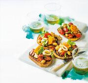 Bruschetta with calamari, butter beans and chorizo