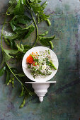 Shaved daikon and apple salad with fish roe