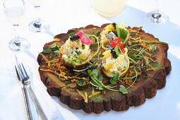 Potatoes with sour cream and caviar (Ukraine)