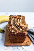 Whole meal banana bread with oats