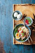 Ramen with pork tenderloin, spinach and egg (Japan)