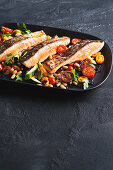 Salmon with zucchini and bean argodolce