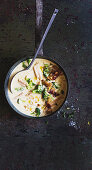 Mac and cheese soup with lemon pangrattato