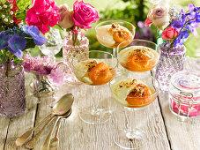 Zabaione and peach trifles